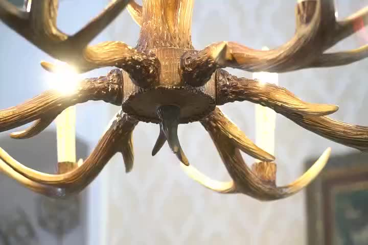 American rustic style antique resin antler lamp chain chandelier for bar/coffee shop decorative