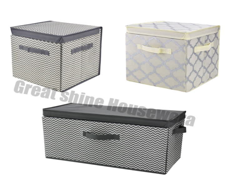 Newest Fabric Storage Box Front Open Foldable With Lid