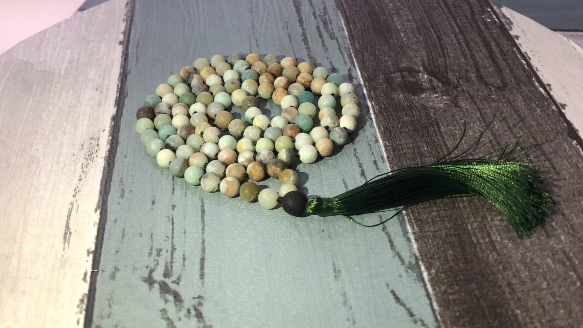 ST0628 Handmade beaded Jewelry For Men Buddhist Yoga Mala Necklace 108 Sodalite knotted Tassel Real Stone Necklace