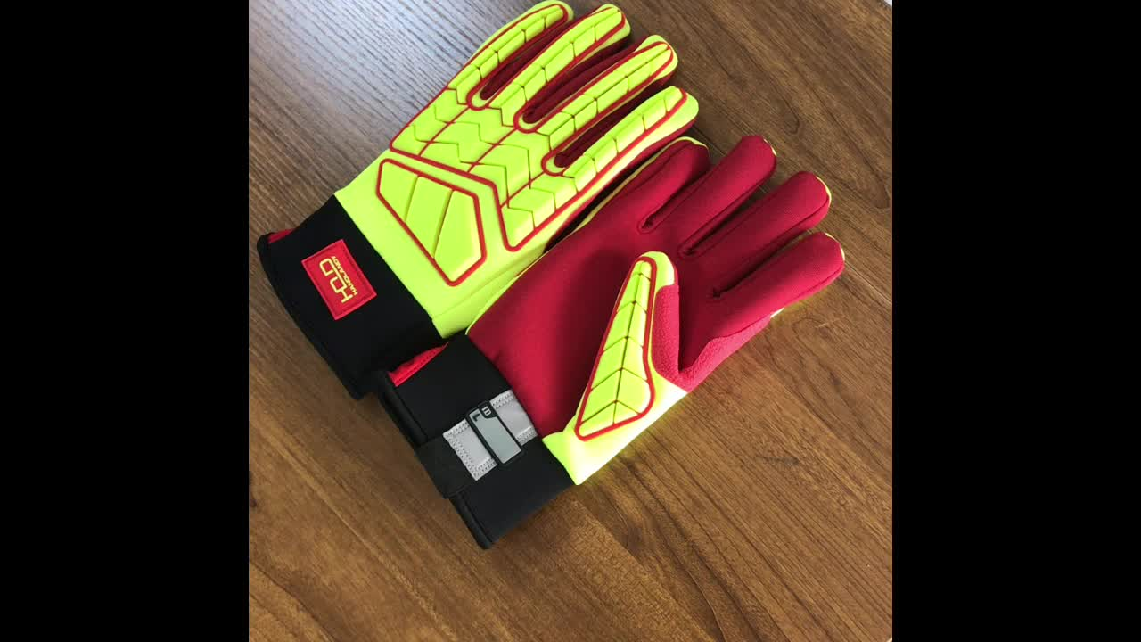 HI-VIS Yellow TPR Back Red Canvas heavy Aramid Oil and Gas Anti impact Cut Resistant Gloves