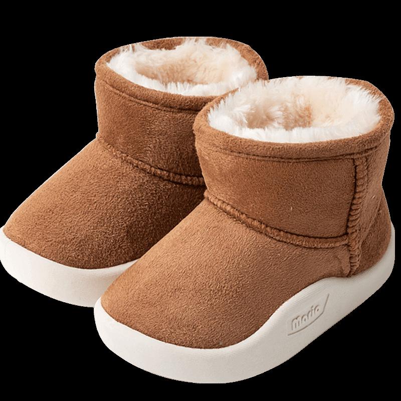儿童雪地靴1-3岁5男童棉靴宝宝冬季女童靴子短靴婴儿冬鞋加绒棉鞋