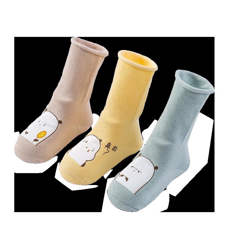 婴儿袜子秋冬纯棉初生新生儿0-3月男 女宝宝1-3岁春秋长筒袜中筒
