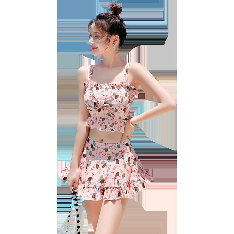 泳衣女三件套仙女范分体保守遮肚显瘦性感韩国ins学生温泉游泳衣