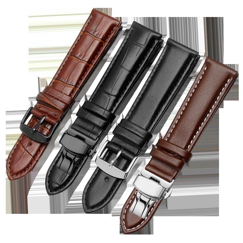 牛皮手表帶男真皮表鏈女士針扣代用卡西歐DW天梭浪琴天王精工美度
