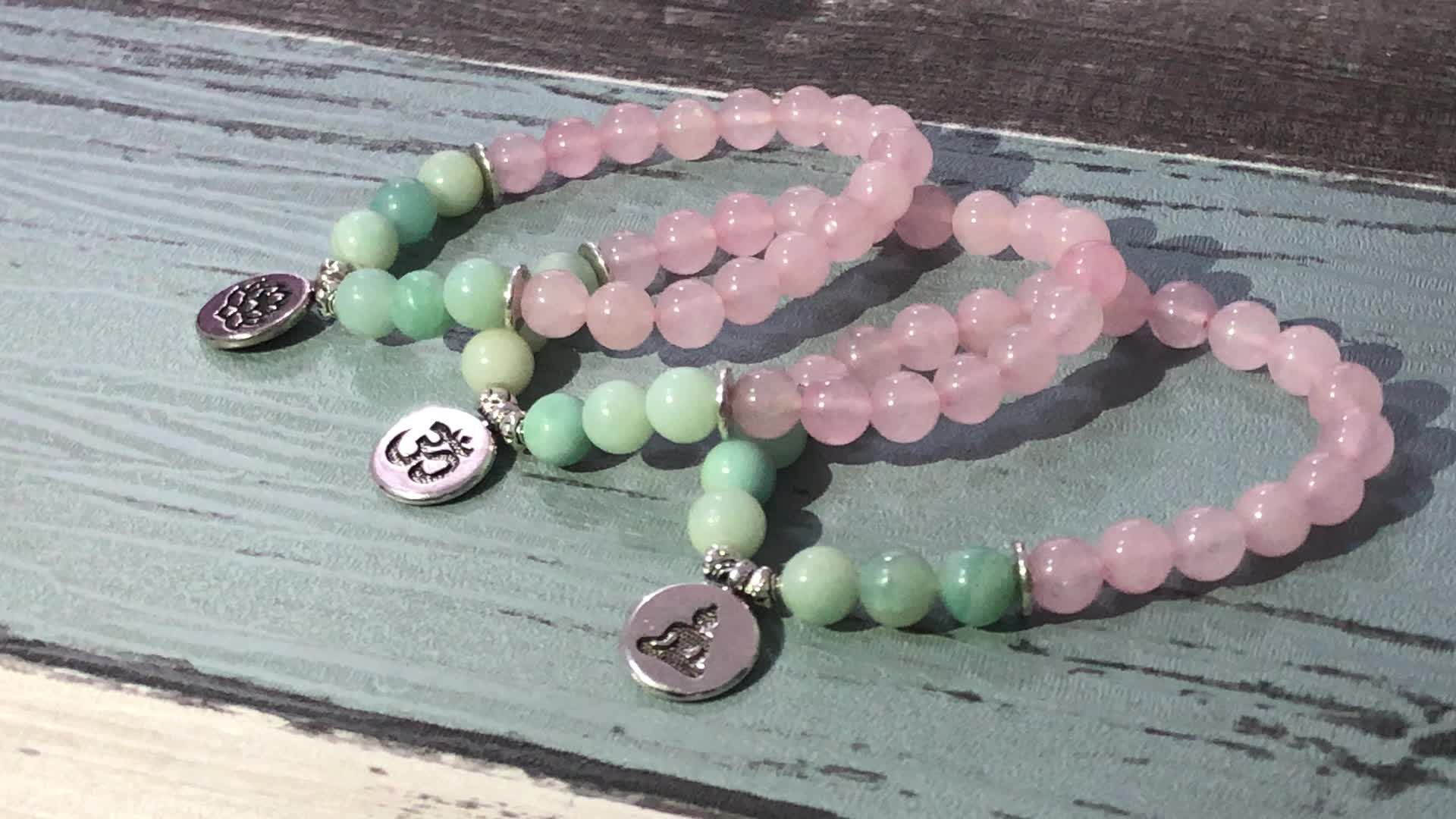 SN1139 Healing Peace Bracelet Yoga Jewelry Silver Lotus Charm Girls Rose Quartz Mala Bracelet