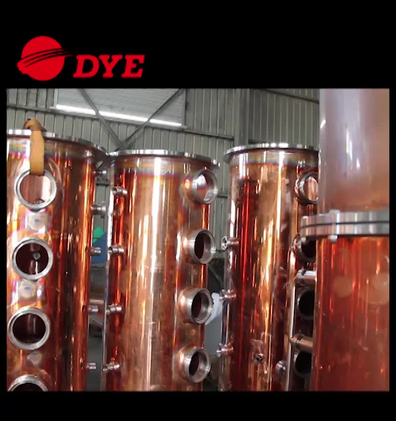 DYE 100% red copper distillation equipment high alcohol whisky brandy rum distillery for sale