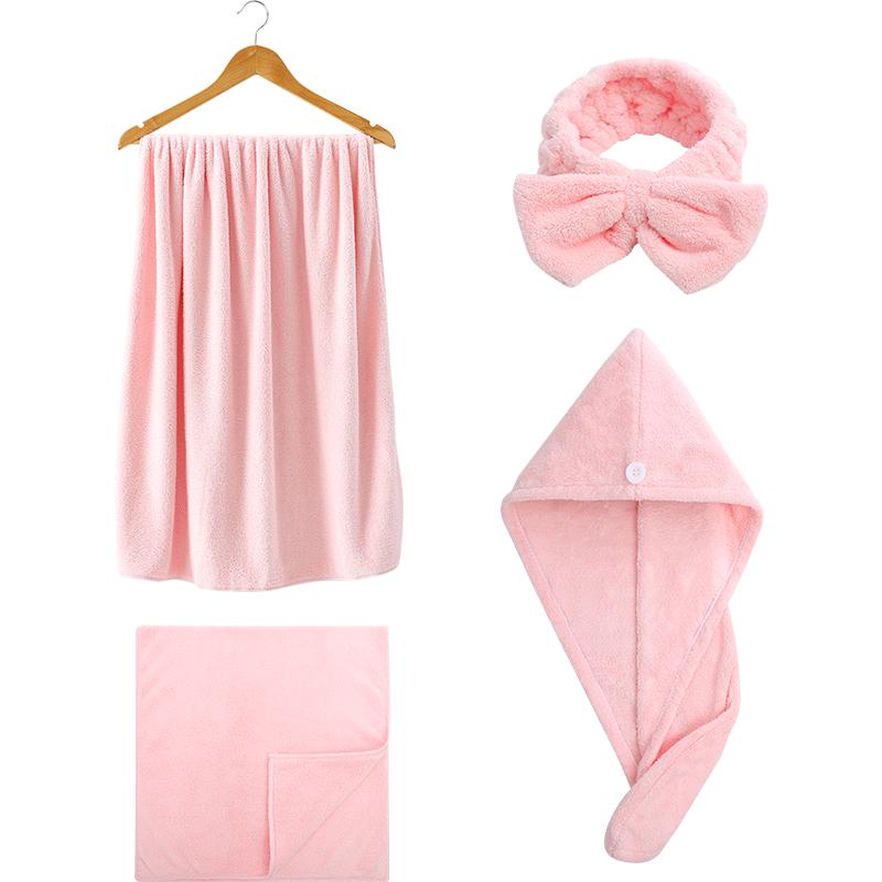 洁丽雅浴巾女裹巾家用洗澡巾非纯棉成人吸水速干不掉毛浴巾三件套