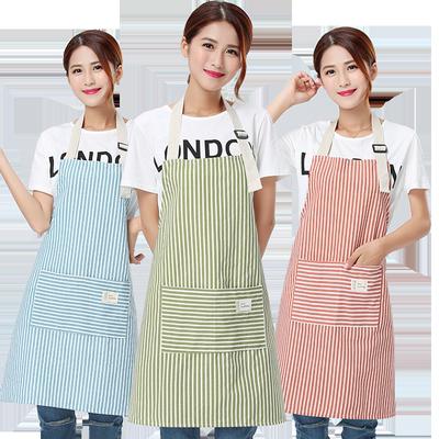 围裙韩版时尚厨房可爱女棉麻男士工作服做饭女士围腰防水防油成人