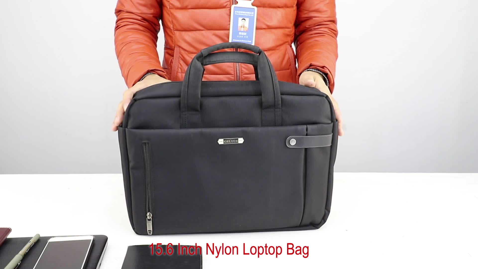 2019 nylon 15.6 inch business computer case laptop bag with trolley strap