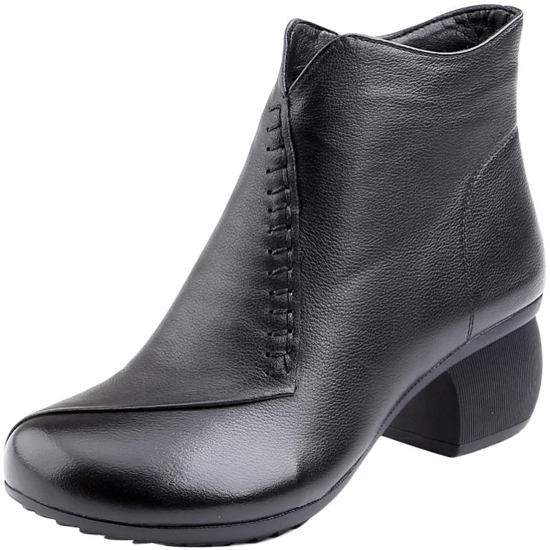 2020新款妈妈鞋冬季加绒中跟马丁靴质量好不好