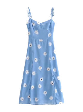 dt法式复古小众蓝色碎花人鱼吊带裙