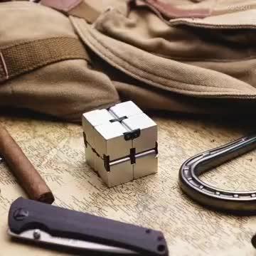 Metal Aluminum Infinity Cube Fidget Toy, Decompression Toys Fidget Stress Cube