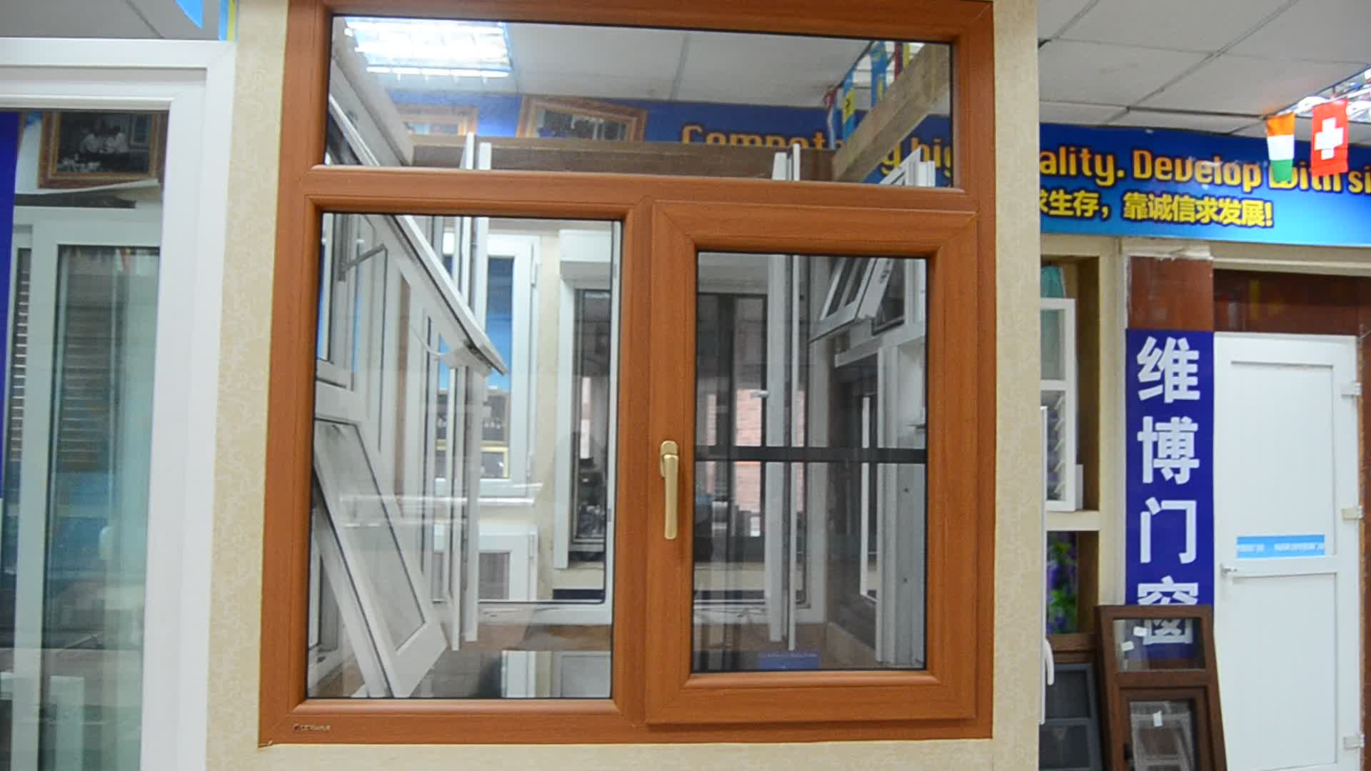 pvc wooden color Hurricane resistant casement window with fly screen