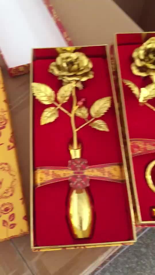 工場直接販売 24 18k ゴールドメッキ天然リアルローズ花バレンタインデーのための日