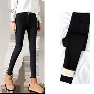 超厚特厚羊羔绒打底裤女秋冬季加绒加厚外穿黑色高腰一体保暖棉裤