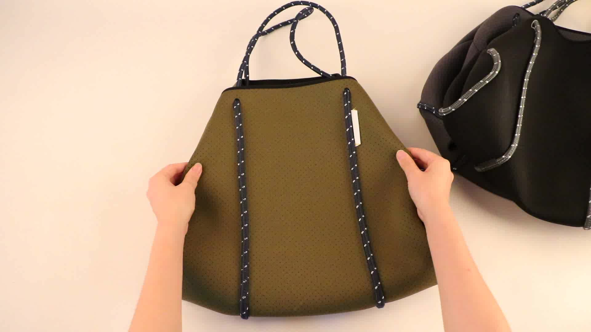 Rope Fashion Neoprene Tote Bag With Punched Holes