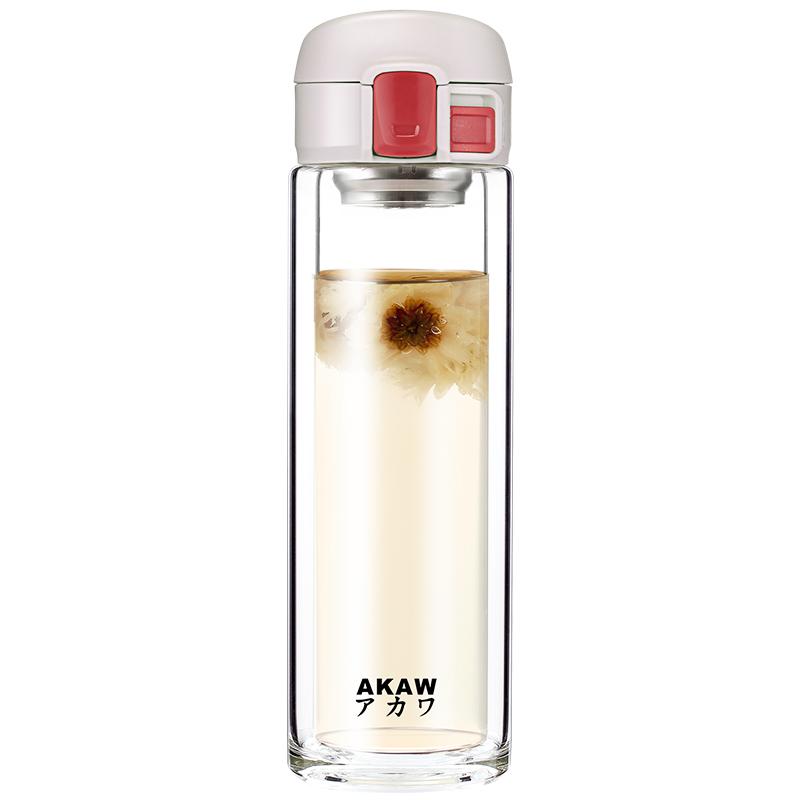 日本AKAW进口茶水分离泡花茶男女家用便携双层玻璃杯水杯子ins风