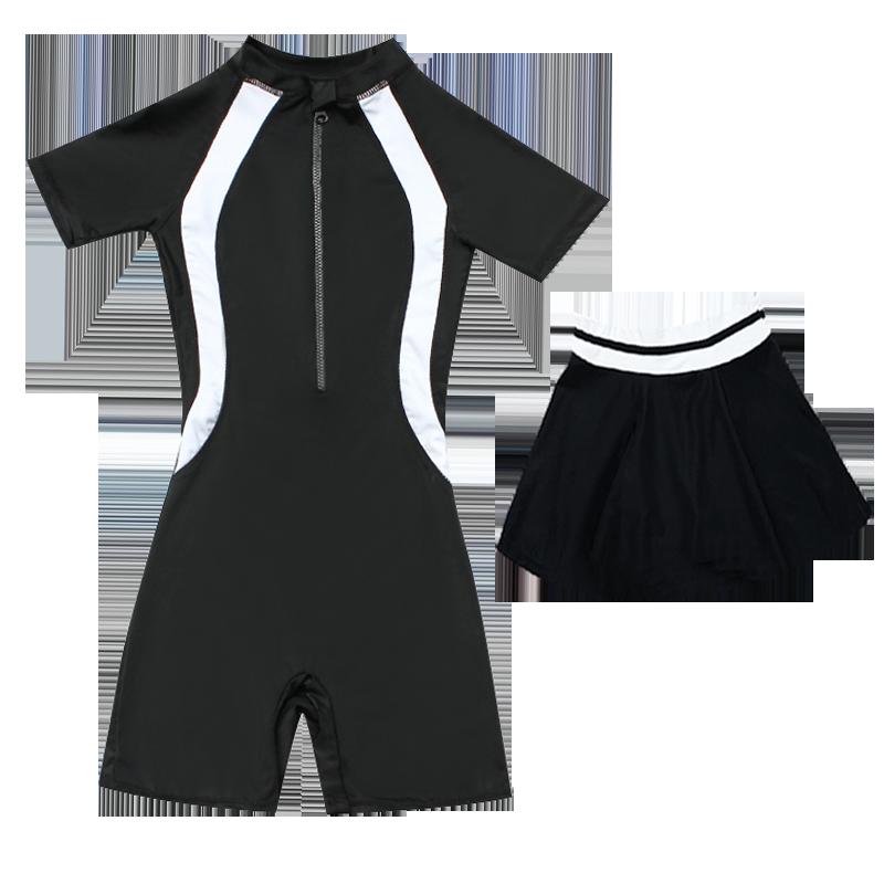 儿童游泳衣 中大童女童连体裙式女孩6-8-12-15岁学生专业少女泳装