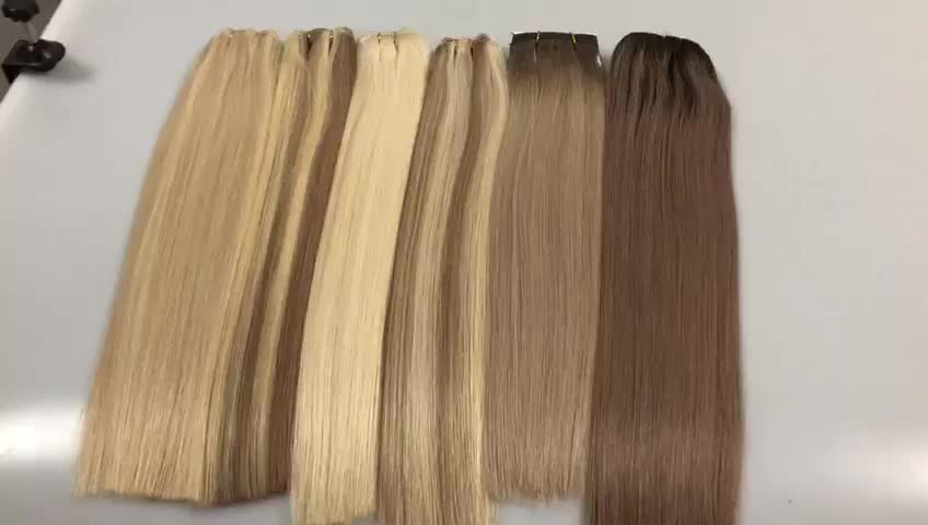 "Top Quality Virgin hair weft with thick end Remy hair extensions 16-24"" length hair"
