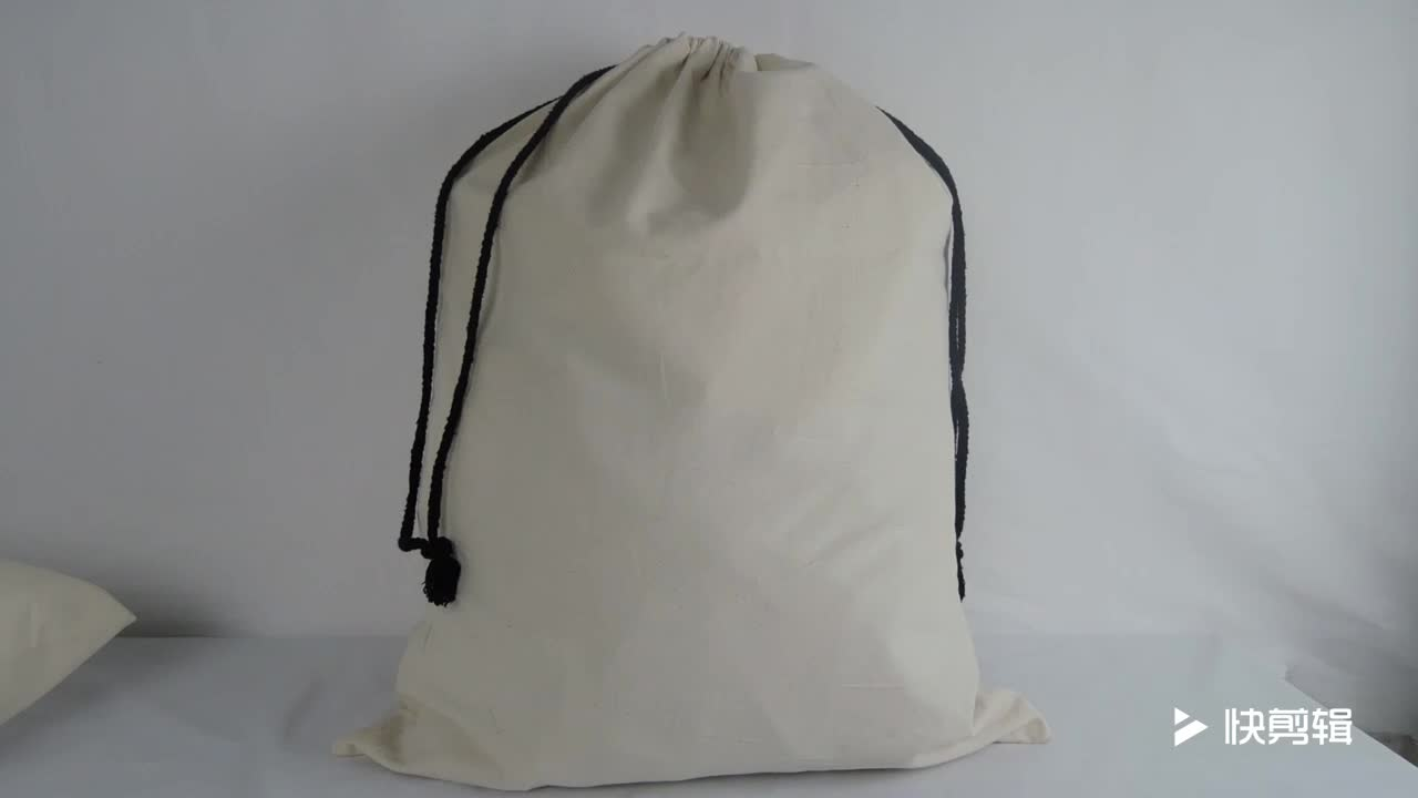 2018 wholesale 100% cotton laundry drawstring bags with black strings