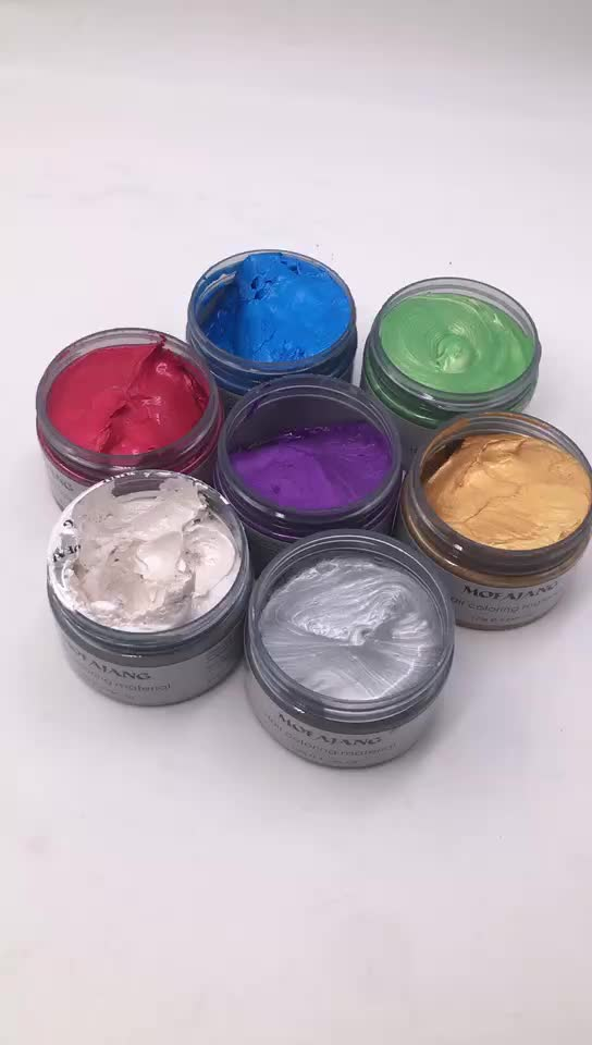 2018 new trending Color Hair Wax Styling Pomade Silver Grandma Grey Temporary Hair Dye with fashion style