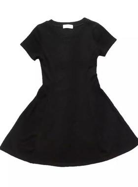 2021春夏新款短袖赫本小黑裙连衣裙