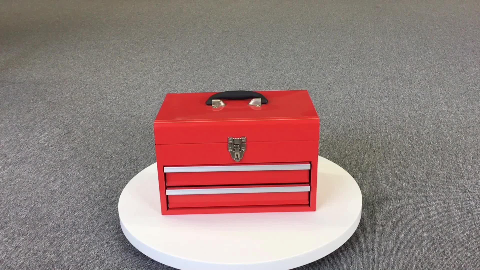 Hongfei-caja de herramientas de Metal, 3 cajones, juego mecánico con herramientas