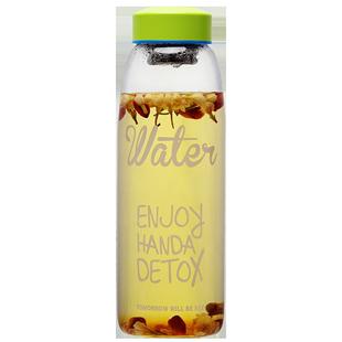 簡趣大容量牛奶杯帶蓋果汁玻璃杯可愛咖啡早餐杯子耐熱水杯飲料瓶