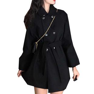 黑穿搭女毛呢中长款小个子收腰大衣