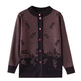 中老年女装秋装毛衣奶奶装开衫外套 老年人妈妈装冬装针织衫加厚