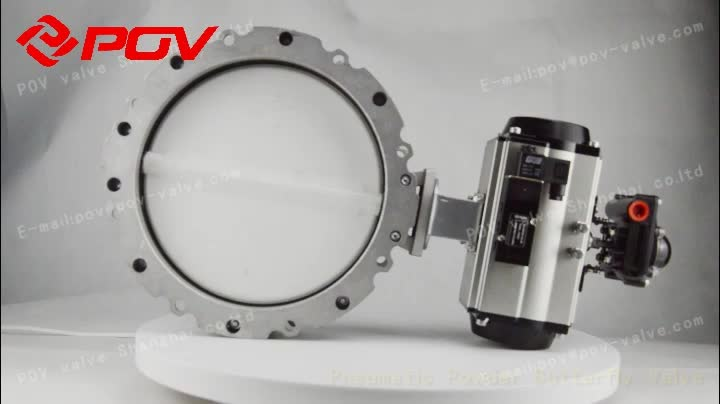 China made high standard NBR seal double flange connection pneumatic butterfly valve