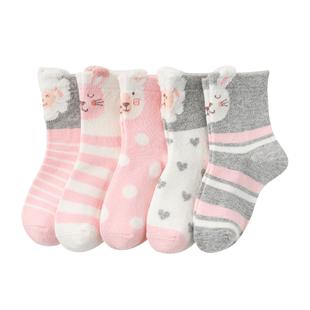 花可棉纯棉中筒秋冬季儿童袜子