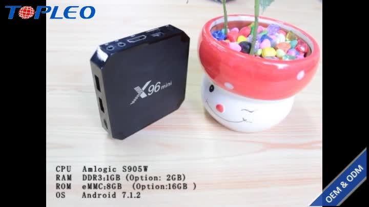 Fuente de la fábrica de alta calidad Android 7.1.2 Amlogic S905W inteligente x96 android tv box 2 GB 16 GB 1 GB 8 GB