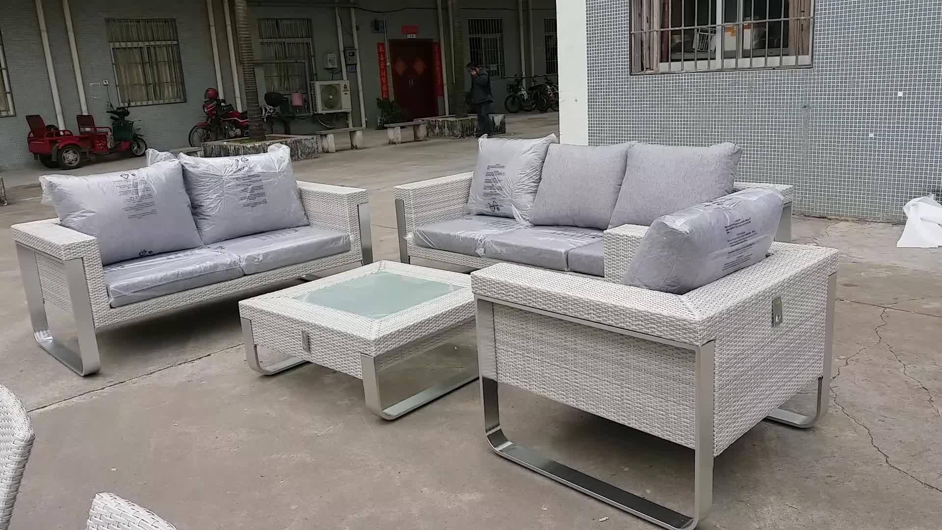 Modern aluminium hotsale wicker patio garden furniture rotan sofa set luar ruangan