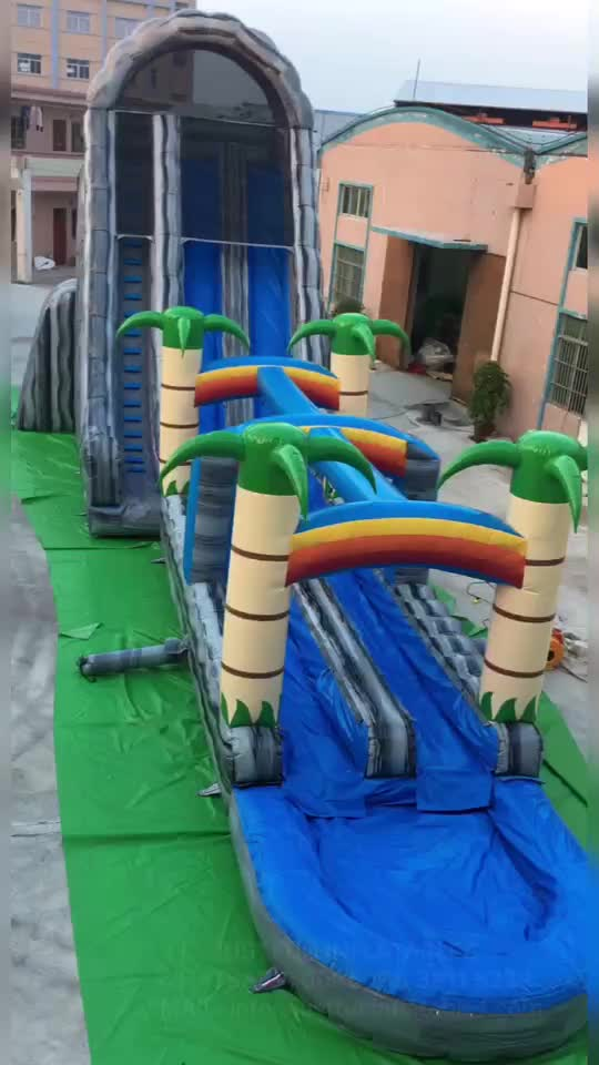24'H triple lane tropical giant inflatables water slides for adults