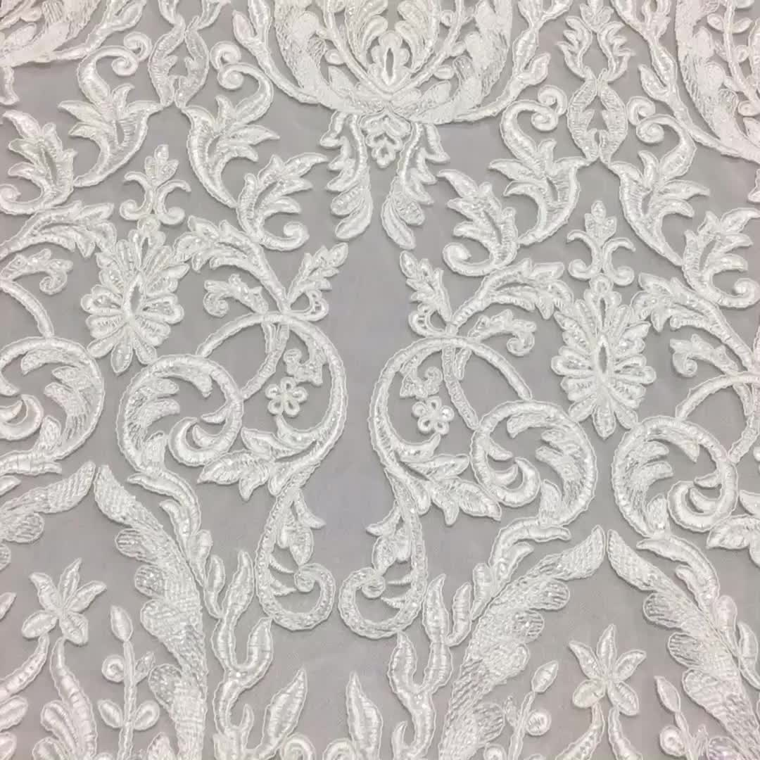 New Wedding Dress White Bridal Embroidered Tulle Lace Fabric