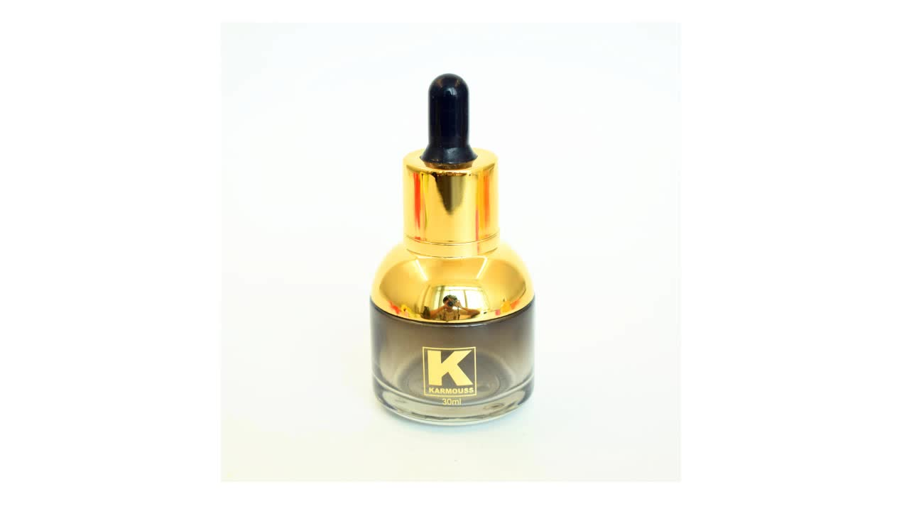Save 10% Luxury black gradient Customize 30ml glass dropper bottle with black pipette for cosmetic oil