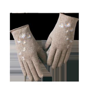 秋冬季羊毛可爱五指加绒保暖手套