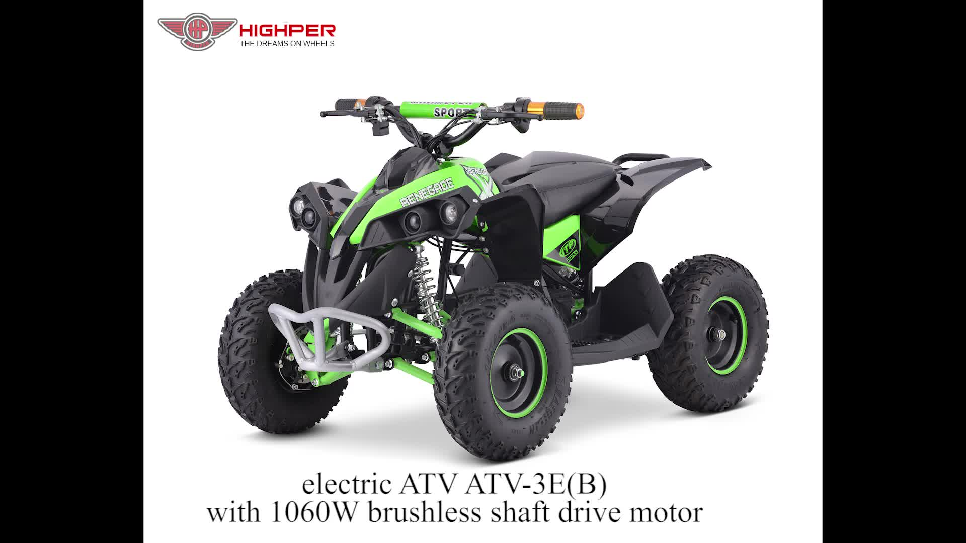 2017 1060W SHAFT DRIVE MINI ATV QUAD FOR KIDS WITH CE (ATV-3E-B)