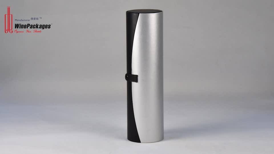 Single Bottle Oval Cardboard Leather Wine Packaging Carrier