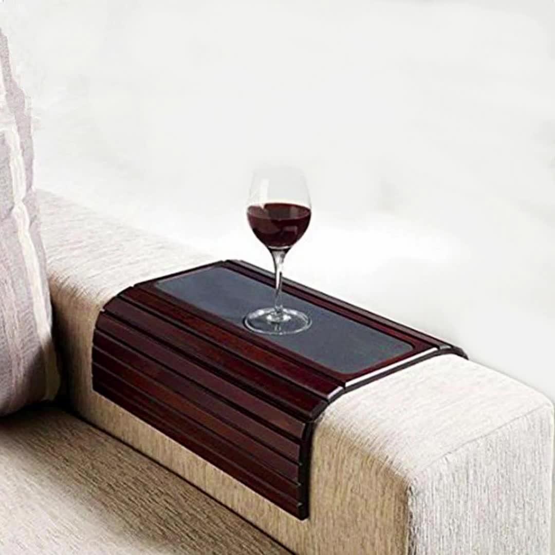 Handmade kayu penjualan panas sofa arm meja nampan dengan penyimpanan tray