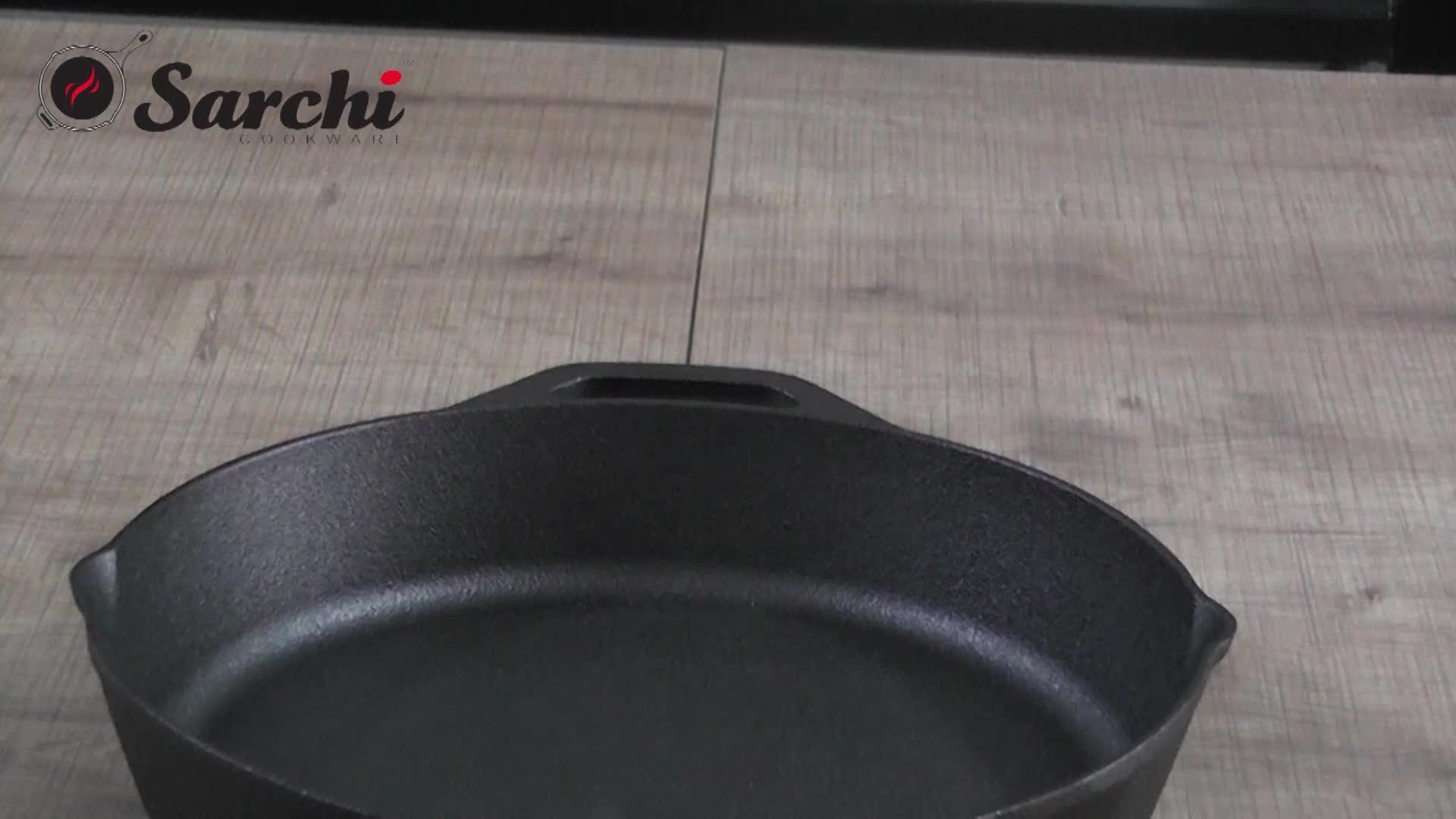 Pre-seasoned cheap custom round cookware frying pan cast iron skillet