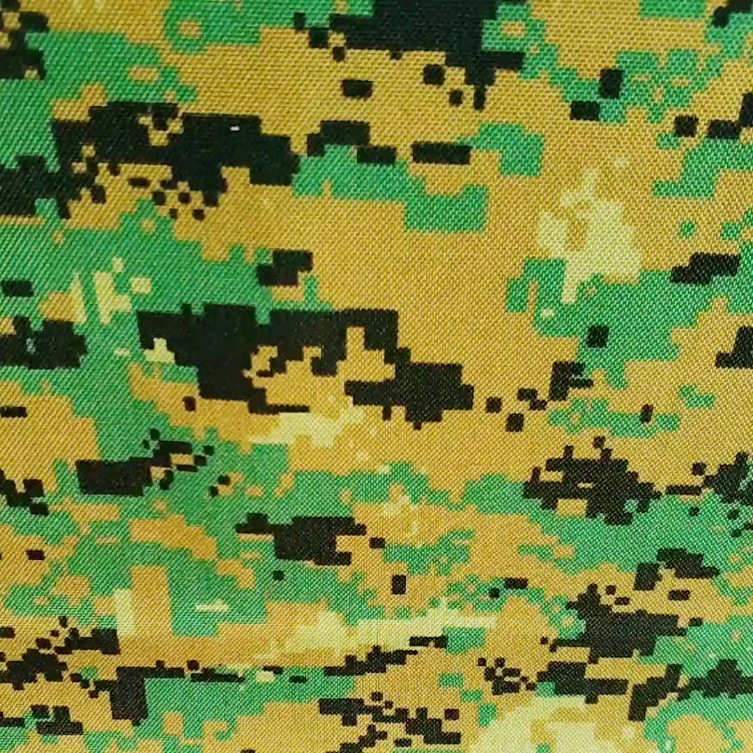 Digital woodland camouflage printed 1000d nylon similar cordura waterproof oxford fabric