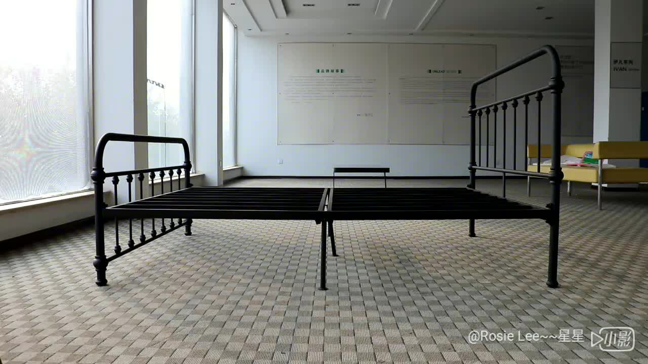 1800 X 2000Mm Powder-Coated Metal Double Bed Sturdy Bedstead With Iron Tubes