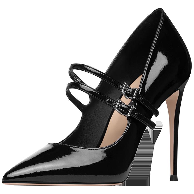 法贝妃2020新款单鞋漆皮尖头高跟鞋图片