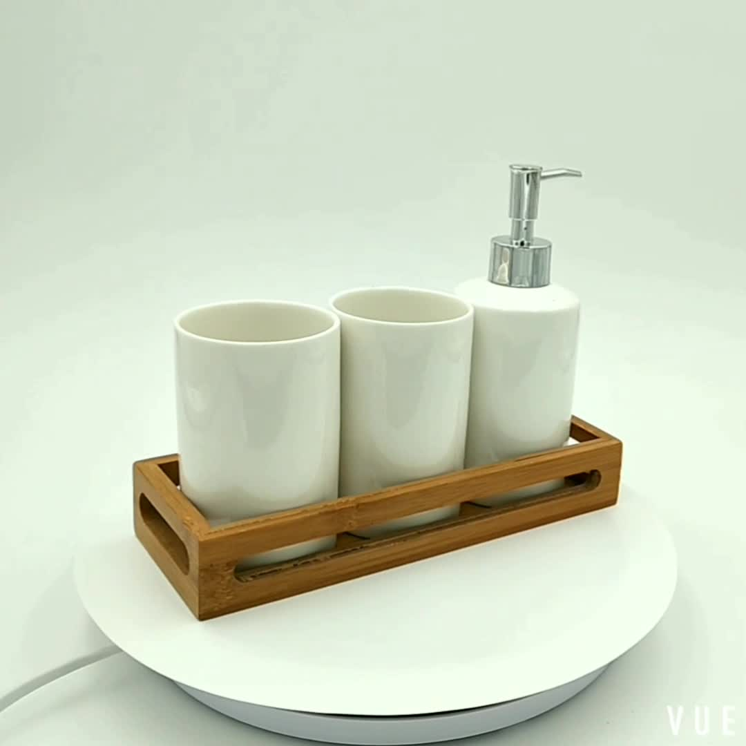 Promotional plain white 3pcs ceramic set and bamboo tray - Where to buy bathroom accessories ...