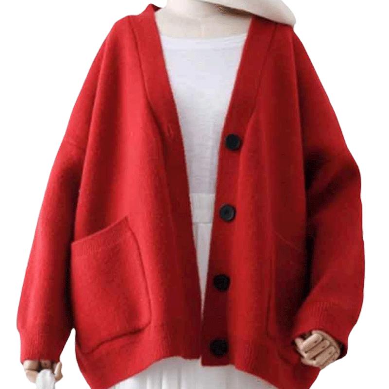马海毛衣女2019春秋新款时尚外穿洋气针织开衫韩版宽松慵懒风外套