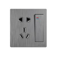 86型一开5五孔多孔插座USB双控墙壁开关面板暗装家用灰色16A空调