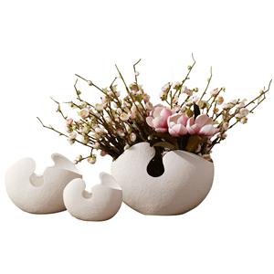 唐朝白色陶瓷插花瓶三件套歐式擺設