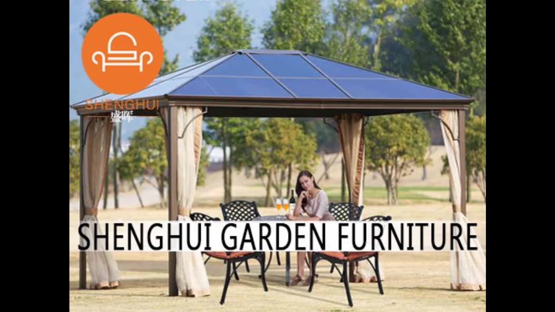 2018 hot selling 3*3M 3*4M garden metal aluminum frame rome gazebo pavilion tent outdoor with double roof